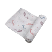 Organic Baby Muslin Swaddle for Your New Born Baby Girl Mermaid Print